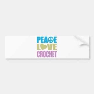 Ganchillo del amor de la paz pegatina de parachoque