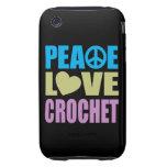 Ganchillo del amor de la paz tough iPhone 3 cobertura