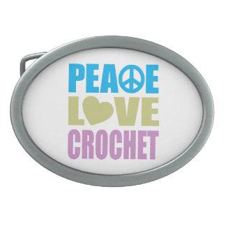 Ganchillo del amor de la paz hebillas de cinturón ovales