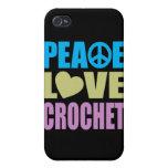 Ganchillo del amor de la paz iPhone 4 protector