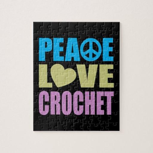 Ganchillo del amor de la paz puzzle con fotos