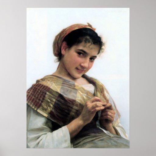 Ganchillo del au de Bouguereau - de Jeune Fille Póster