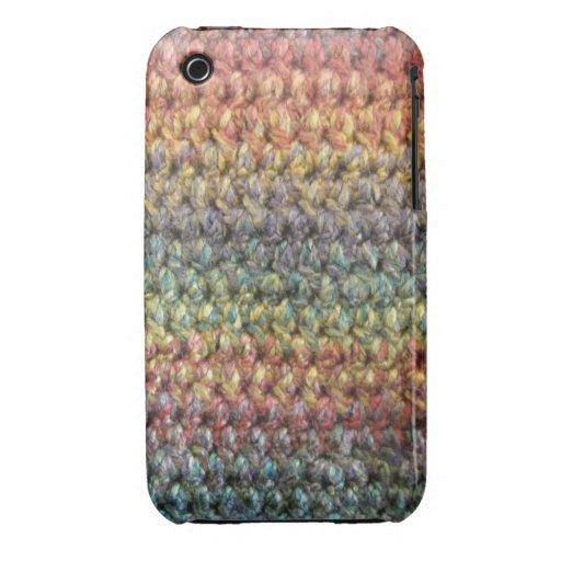 Ganchillo hecho punto rayado multicolor iPhone 3 Case-Mate cobertura