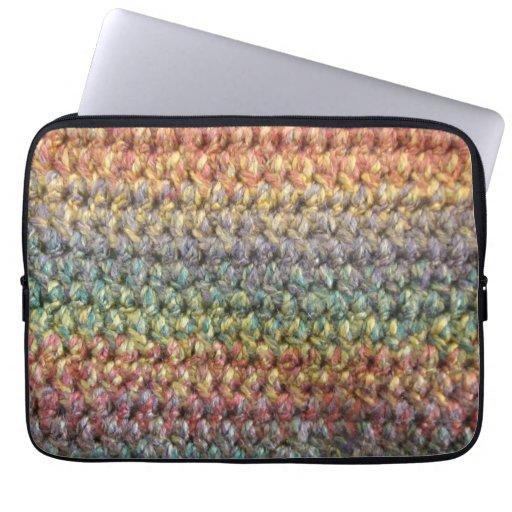 Ganchillo hecho punto rayado multicolor manga portátil