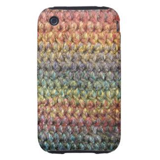 Ganchillo hecho punto rayado multicolor iPhone 3 tough carcasas