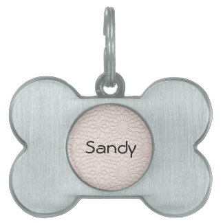 Ganchillo rosado placa de nombre de mascota