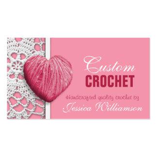 Ganchillo - tarjetas de visita en forma de corazón