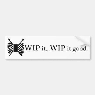 Ganchillo y WIP que hace punto él buen humor de Pegatina Para Auto