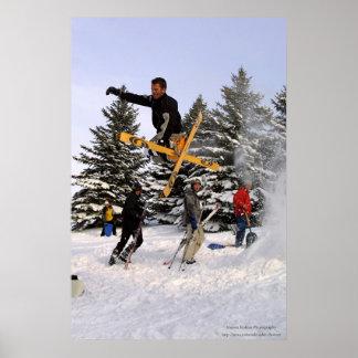 Gancho agarrador pellizcado del esquí poster
