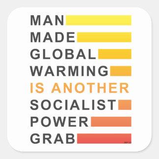 Gancho agarrador socialista del poder pegatina cuadrada