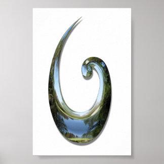 Gancho de pescados maorí - cromo póster