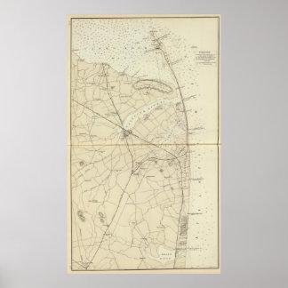 Gancho de Sandy al mapa de la carta de la costa de Póster