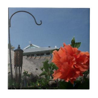 gancho e hibisco que pintan diseño floral aseado tejas