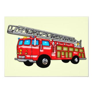 Gancho y coche de bomberos de la escalera invitación 12,7 x 17,8 cm