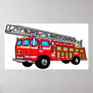 Gancho y coche de bomberos de la escalera póster