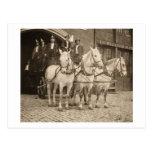 Gancho y compañía de bomberos traídos por caballo  postales
