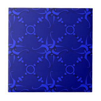 Gancho y lazo - azul azulejo cuadrado pequeño