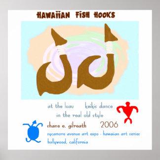 Ganchos de pescados hawaianos posters