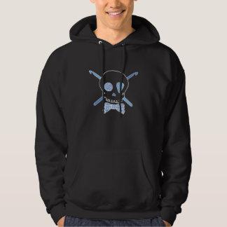 Ganchos del cráneo y de ganchillo (azul - versión jersey encapuchado
