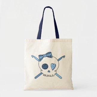 Ganchos del cráneo y de ganchillo (azules cielos) bolsa tela barata