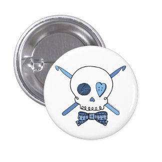 Ganchos del cráneo y de ganchillo (azules) pin redondo 2,5 cm