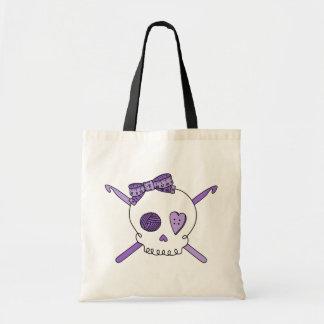 Ganchos del cráneo y de ganchillo (púrpuras) bolsa tela barata