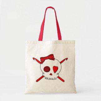 Ganchos del cráneo y de ganchillo (rojos) bolsa tela barata