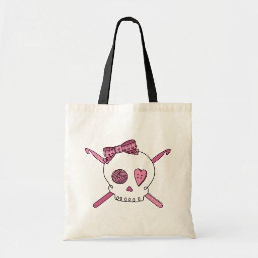 Ganchos del cráneo y de ganchillo (rosa) bolsa tela barata