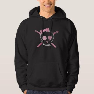 Ganchos del cráneo y de ganchillo (rosa - versión jersey encapuchado