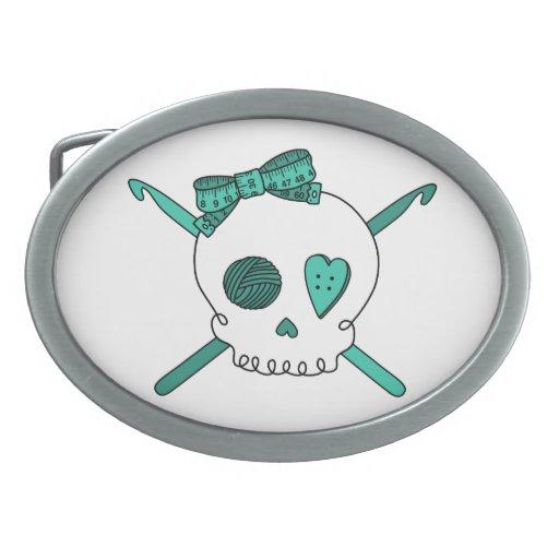 Ganchos del cráneo y de ganchillo (turquesa) hebillas de cinturon ovales