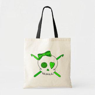Ganchos del cráneo y de ganchillo (verde lima) bolsa tela barata