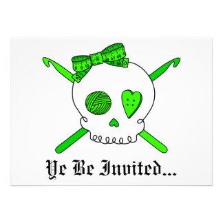 Ganchos del cráneo y de ganchillo verde lima