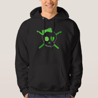 Ganchos del cráneo y de ganchillo (verde lima - sudaderas con capucha