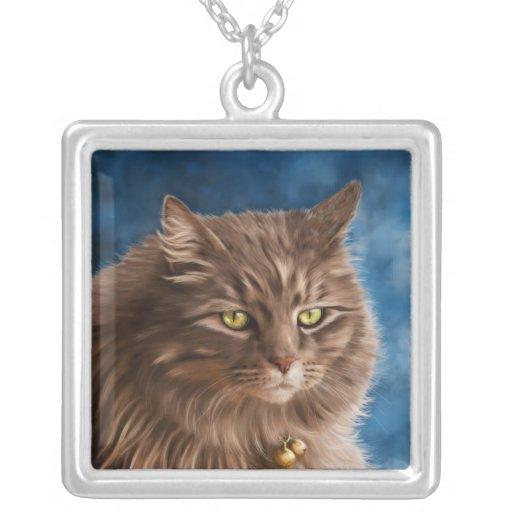 Gandalf - arte de plata del gato de Tabby Colgante Cuadrado