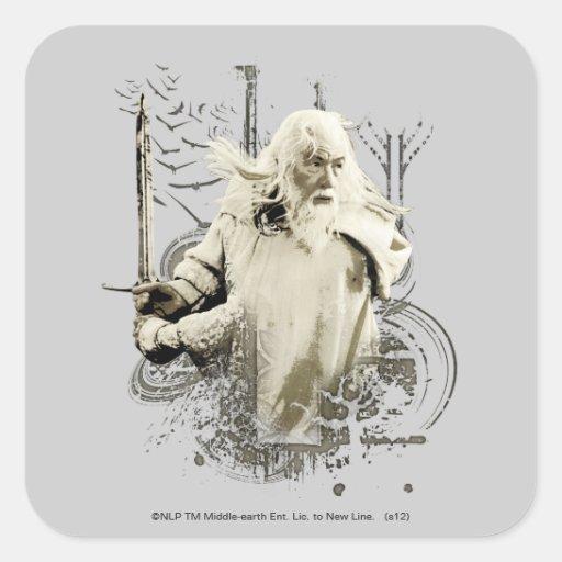 Gandalf con collage del vector de la espada pegatina cuadrada
