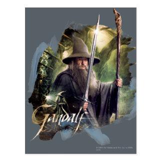 Gandalf con el personal y la espada postal