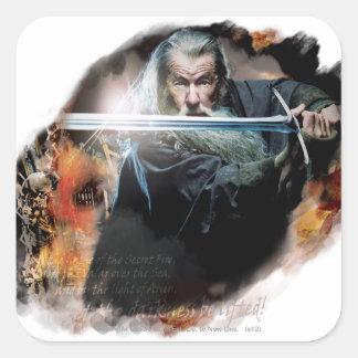 Gandalf con la espada en batalla calcomania cuadradas personalizada