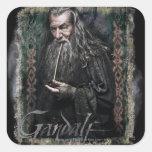 Gandalf con nombre pegatina cuadrada