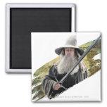 Gandalf con verde de la espada imán cuadrado