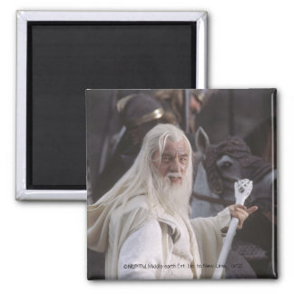 Gandalf Holds Staff 2 Inch Square Magnet