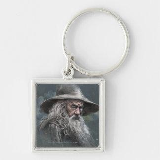 Gandalf Illustration Silver-Colored Square Keychain