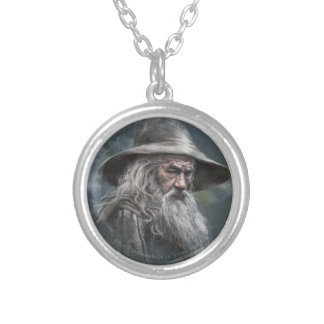 Gandalf Illustration Silver Plated Necklace