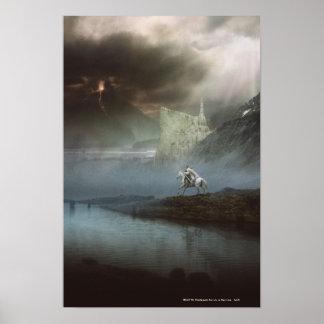 Gandalf lleva Hobbits la ciudad guardada Poster