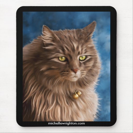 Gandalf - Silver Tabby Cat Art Mouse Pad