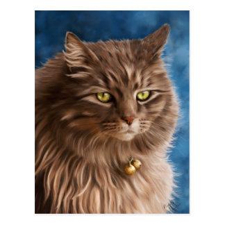 Gandalf - Silver Tabby Cat Art Postcard