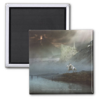 Gandalf Takes Hobbits to Guarded City 2 Inch Square Magnet