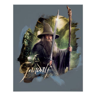 Gandalf With Staff And Sword Poster