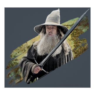 Gandalf With Sword Green Poster