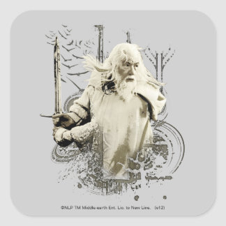 Gandalf with Sword Vector Collage Square Sticker