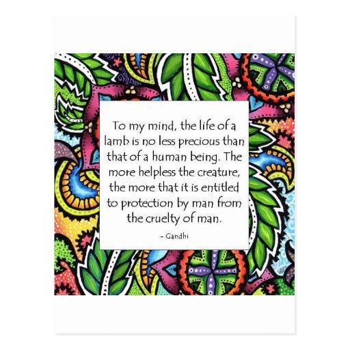 Gandhi Animal Quote Post Card
